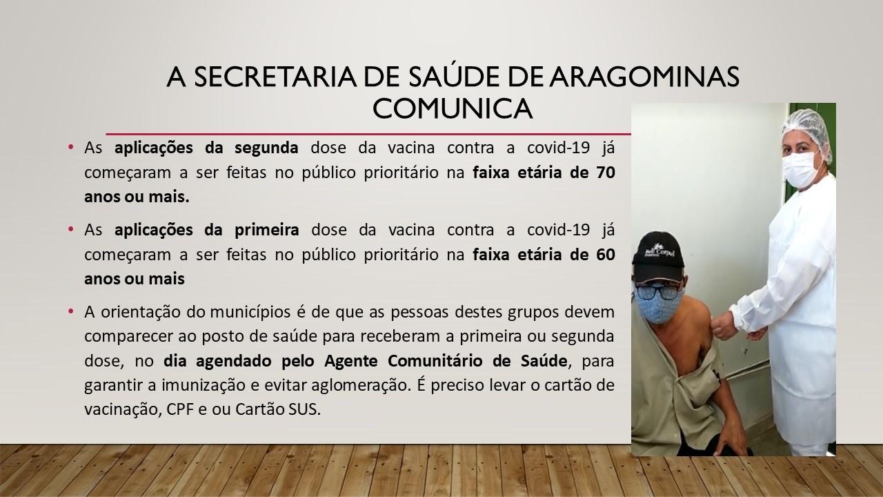A Secretaria de Saúde de Aragominas Comunica.